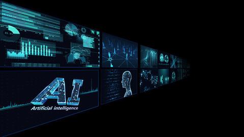 Digital Network Technology AI artificial intelligence data concepts Background B Tate B2 2x2 blue CG動画