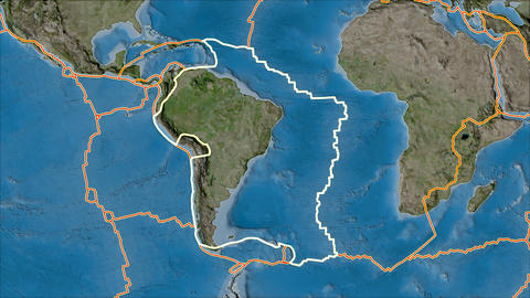 south america tectonic plate. Satellite imagery B. Stroke first. Van der Grinten projection Animation