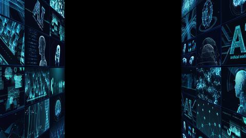 Digital Network Technology AI artificial intelligence data concepts Background B Tate D1 3x3 blue CG動画