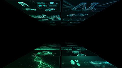 Digital Network Technology AI artificial intelligence data concepts Background B Yoko A3 2x2 green Animation