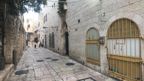 Jerusalem, Israel - beautiful streets of the evening city part 11 Live Action
