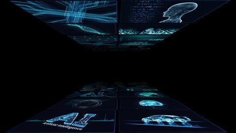 Digital Network Technology AI artificial intelligence data concepts Background B Yoko A1 2x2 blue CG動画