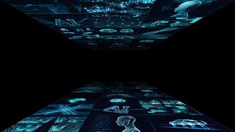 Digital Network Technology AI artificial intelligence data concepts Background B Yoko A1 3x3 blue Animation