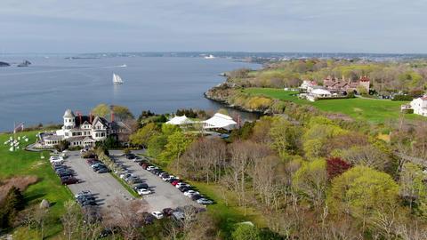 Aerial view of Castle Hill Inn beachfront luxury hotel, Newport, Rhode Island Live Action