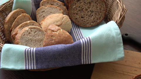Basket with fresh bread. Sliced bread Live Action