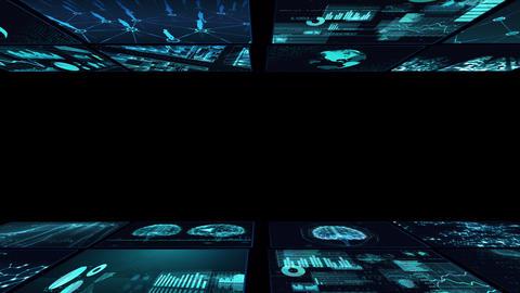 Digital Network Technology AI artificial intelligence data concepts Background B Yoko D1 2x2 blue CG動画