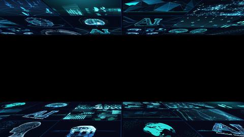 Digital Network Technology AI artificial intelligence data concepts Background B Yoko D1 3x3 blue Animation