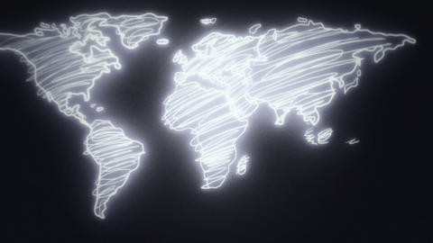 Neon Hand Drawn World Map Smooth Camera Pan and Zoom Out (Black and White) Animation