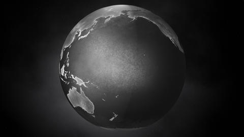 Cinematic Retro Silvery Planet Earth Rotating in a Seamless Loop Animation