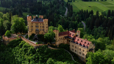 Famous Hohenschwangau Castle in Bavaria Germany - the High Castle Live Action