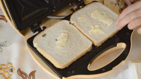 Placing Bread On Sandwich Maker 2 Footage