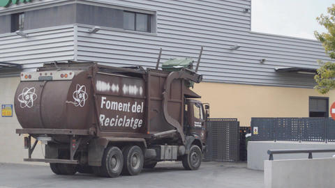 Garbage Truck In Action Footage