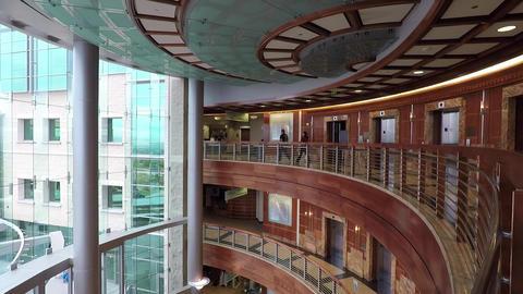 Cancer hospital atrium entrance balcony floors HD 927 Footage