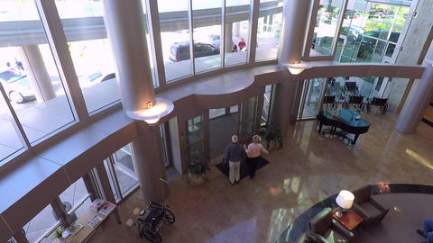 Cancer hospital front lobby entrance HD 894 Footage