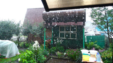 Rain drops from awning Footage