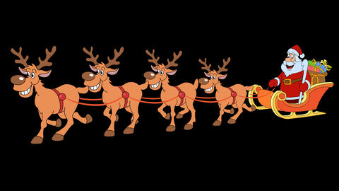 Christmas sleigh with four reindeer and Santa Claus. 4K. 30 fps Animation