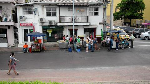 Street Scene in Cartagena Footage