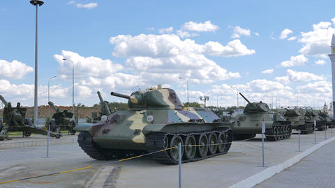 Older tanks. Part 1. Museum of military equipment, Pyshma, Ekaterinburg, Russia Footage