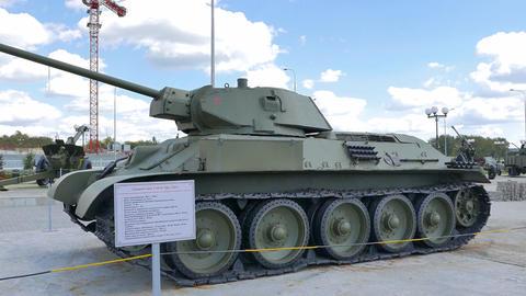 The average tank T-34-57 mod. 1941. Pyshma, Ekaterinburg, Russia Footage
