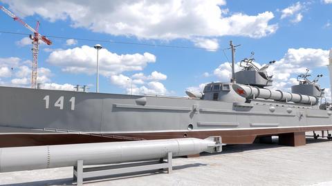 Layout torpedo boat 'Komsomolets' (Project 123-bis). Pyshma, Ekaterinburg, Russi Footage