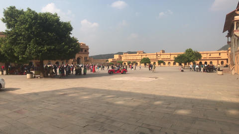 Jaipur, India, November 05, 2019, Amer Fort, area with tourists in good weather Live Action