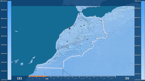 Morocco - wind speed, borders and cities Animation