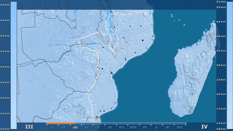 Mozambique - wind speed, borders and cities Animation