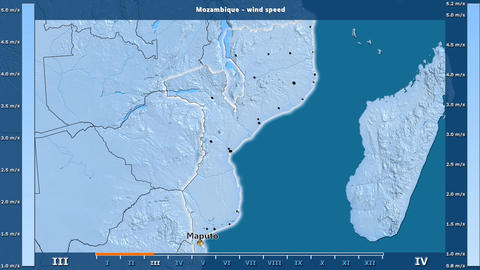 Mozambique - wind speed, English labels Animation