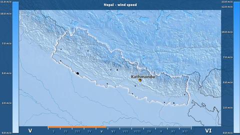 Nepal - wind speed, English labels Animation