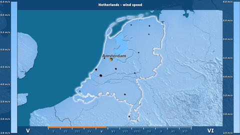 Netherlands - wind speed, English labels Animation
