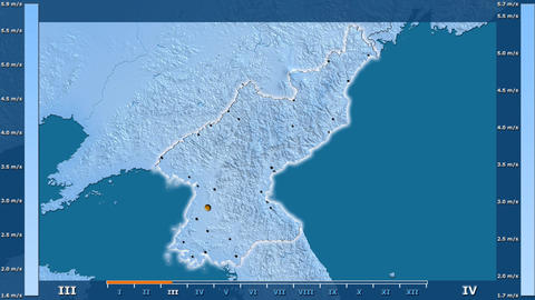 North Korea - wind speed, borders and cities Animation
