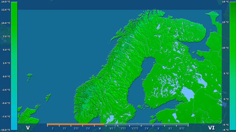 Norway - average temperature, raw data Animation