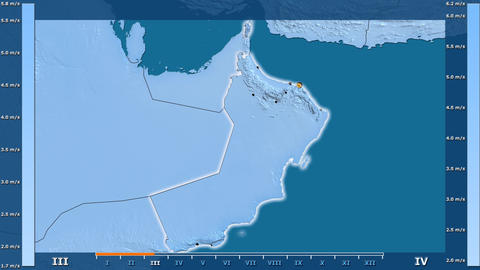 Oman - wind speed, borders and cities Animation