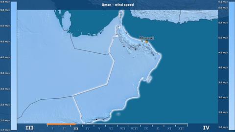 Oman - wind speed, English labels Animation