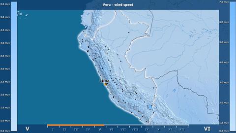 Peru - wind speed, English labels Animation