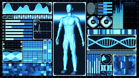 3D Rendering Human Body and DNA double helix Scan Analysis Abstract Medical Futuristic HUD Display Animation