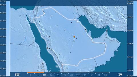 Saudi Arabia - wind speed, borders and cities Animation