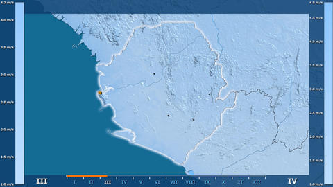 Sierra Leone - wind speed, borders and cities Animation