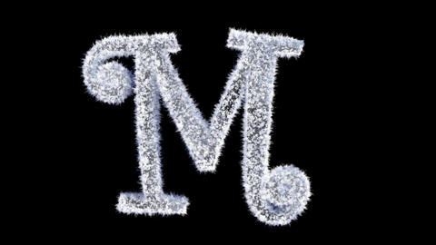 Ice forming frost text typography animation with separate alpha channel M Animation
