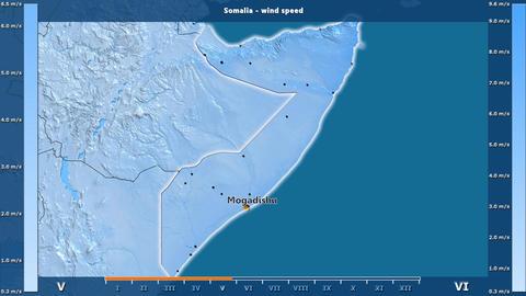 Somalia - wind speed, English labels Animation