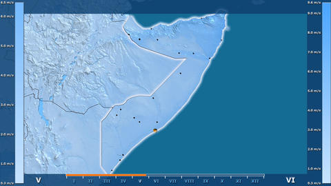 Somalia - wind speed, borders and cities Animation