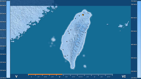 Taiwan - wind speed, borders and cities Animation