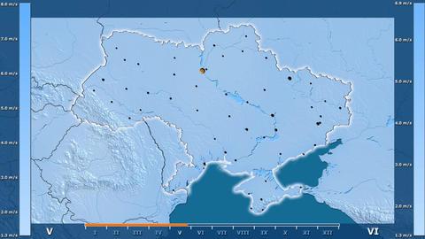 Ukraine - wind speed, borders and cities Animation