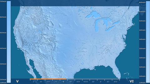 United States Mainland - wind speed, raw data Animation