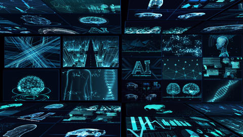 Digital Network Technology AI artificial intelligence data concepts Background B Yoko E1 Mix blue CG動画