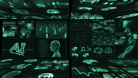 Digital Network Technology AI artificial intelligence data concepts Background B Yoko E1 Mix green Animation