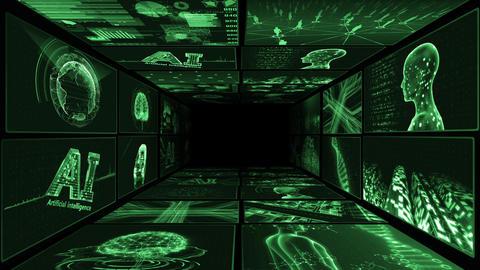 Digital Network Technology AI artificial intelligence data concepts Background B Yoko-Tate A1 2x2 CG動画