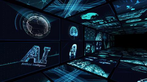 Digital Network Technology AI artificial intelligence data concepts Background B Yoko-Tate B1 2x2 CG動画
