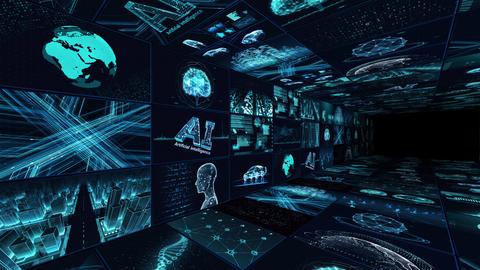 Digital Network Technology AI artificial intelligence data concepts Background B Yoko-Tate B1 3x3 CG動画