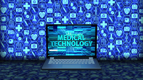 3D Rendering Laptop/Notebook on the floor with Medical Technology on the screen and icon set Animation